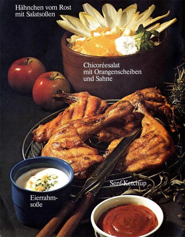 Hähnchen vom Rost mit verschiedenen Salatsoßen