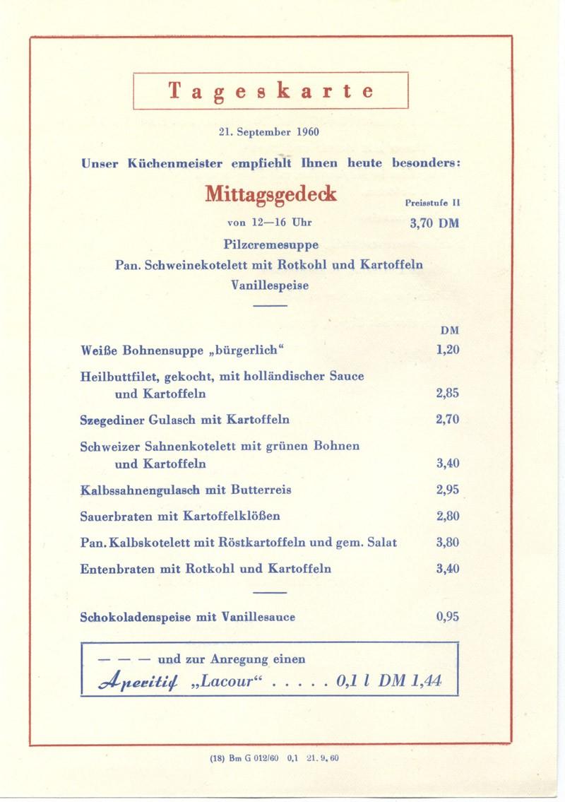Speisekarte MITROPA (1960)