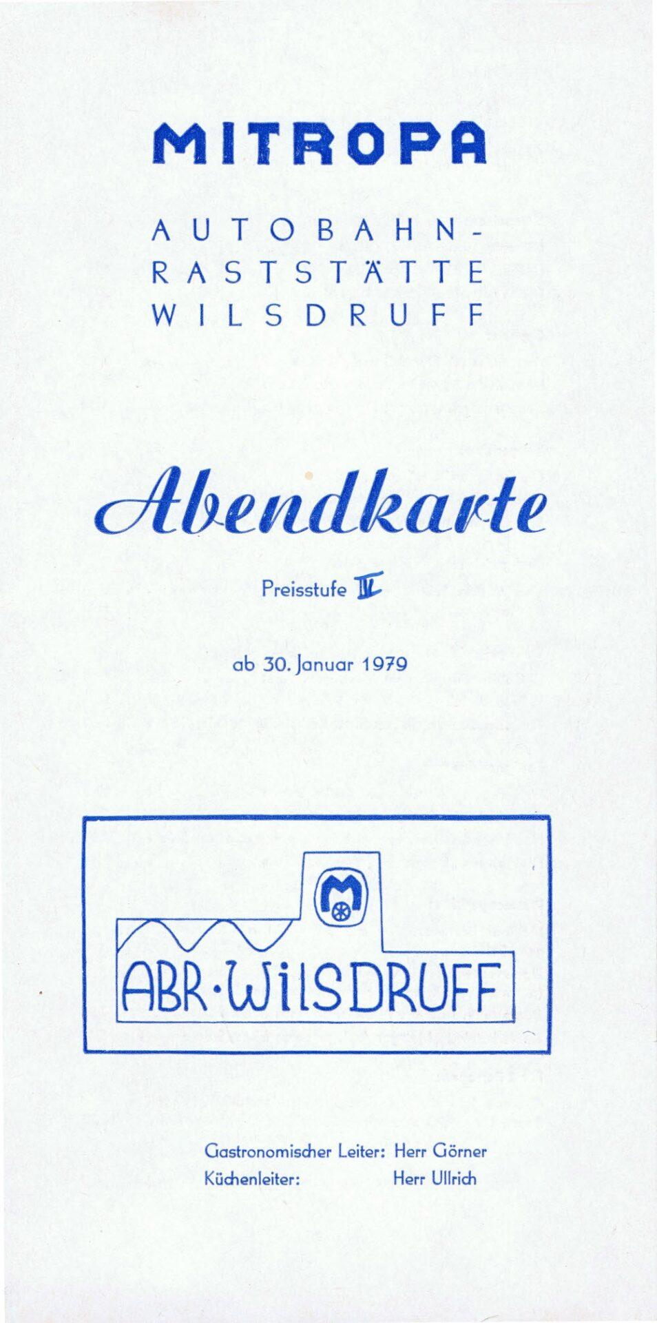 Speisekarte Mitropa Autobahn-Raststätte -Wilsdruff (1979)