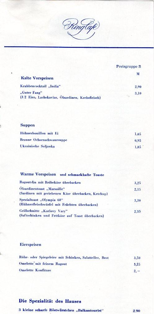 Speisekarte Ring-Cafe, Leipzig