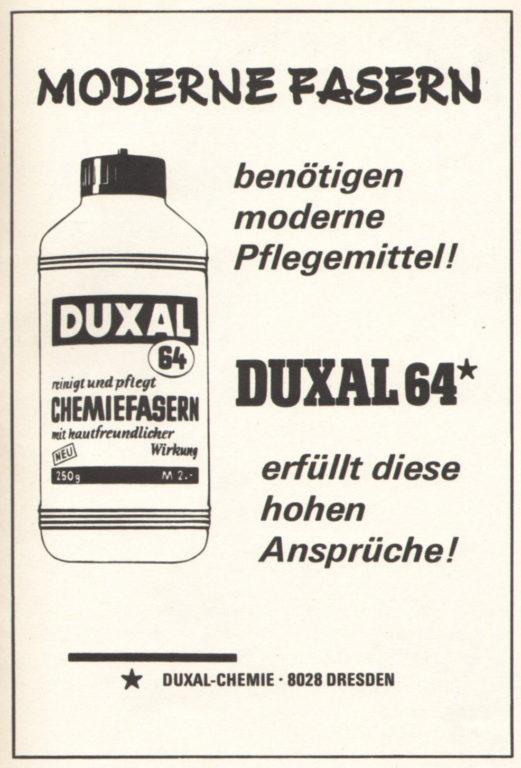 Duxal-Chemie Dresden, Werbung aus dem Jahr 1970